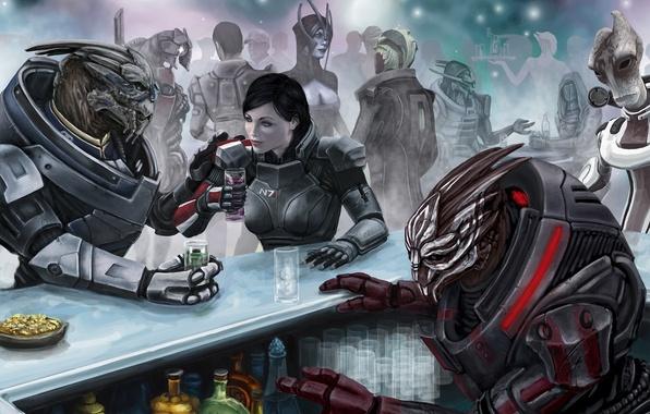 Picture bar, captain, Legion, booze, mass effect 3, Shepard, fanart, garrus, female, commander, Drell, me3, vakarian, …