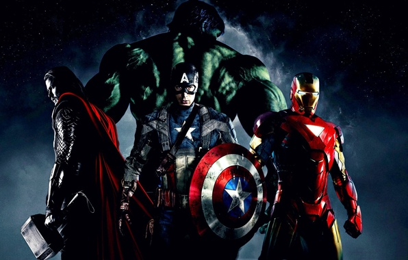 Picture Hulk, Thor, captain America, the Avengers, elezny people