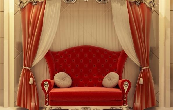 Picture red, sofa, Interior
