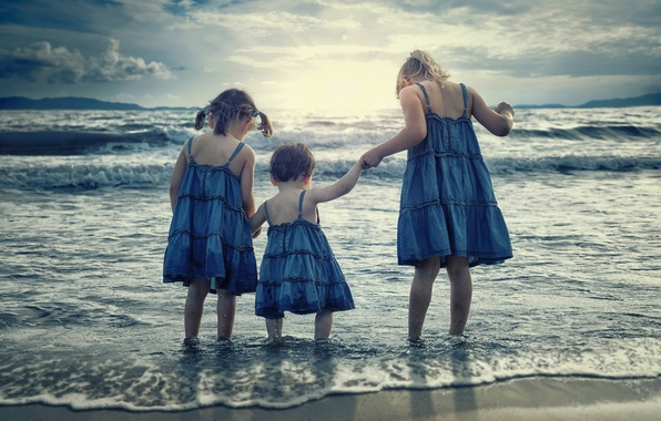 Picture sea, children, girls, surf, sisters