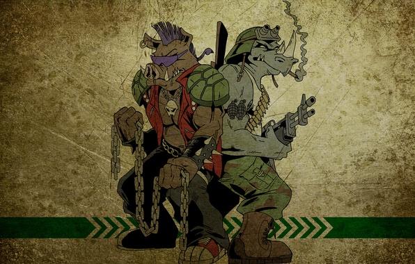 Picture Teenage mutant ninja turtles, NINJA TURTLES, Bebop, Rocksteady, Bebop, Rocksteady
