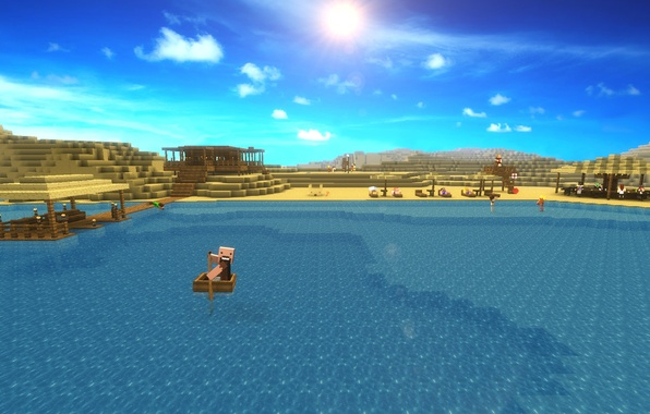 Picture The sun, Sea, Desert, Beautiful, sea, sun, Minecraft, minecraft, Notch, Notch