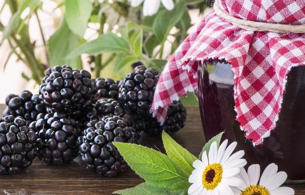 Picture berries, Bank, BlackBerry, jam, berries, jam, blackberries, Bank, chamomile flowers, chamomile flowers