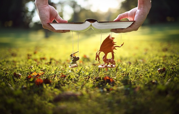 Picture grass, lawn, dragon, hands, book, knight, thread