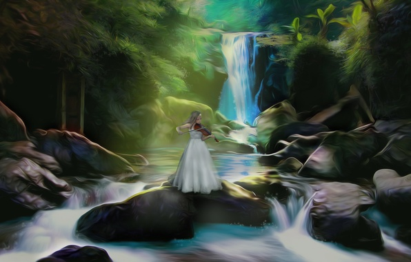 Picture girl, nature, music, river, stones, violin, waterfall, art, musical instrument