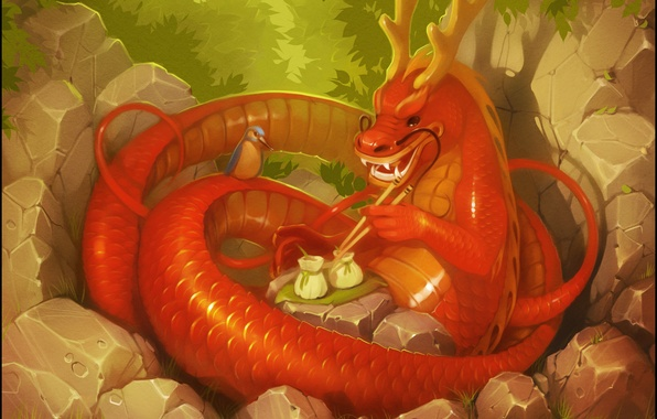 Picture forest, fantasy, bird, dragon, art, Chinese dragon