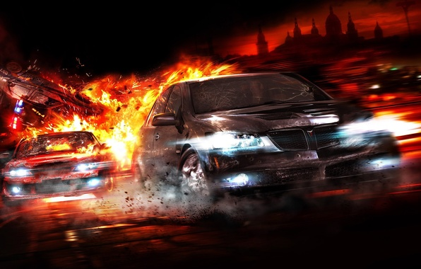 Picture auto, fire, chase