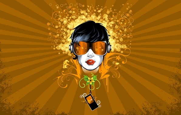 Picture girl, circles, flowers, abstraction, style, patterns, vector, figure, vector, point, glasses, player, lines, girl, style, …