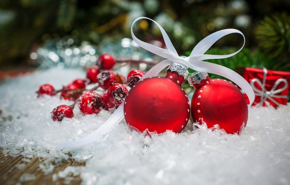 Picture winter, snow, decoration, holiday, balls, Christmas, Happy New Year, Christmas, balls, beautiful, winter, snow, beauty, …