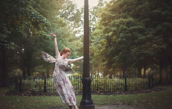 Picture girl, pose, Park, mood, wings, post, dress, Caroline Sheehan