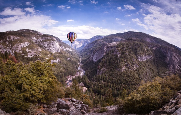 Picture clouds, trees, nature, balloon, rocks, Yosemite, Yosemite, California