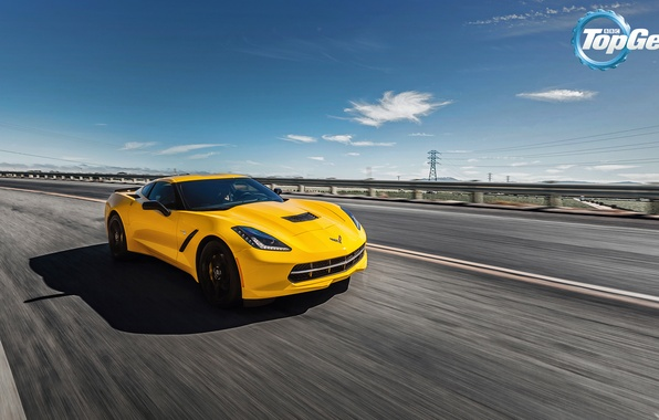 Picture road, the sky, yellow, Corvette, Chevrolet, Chevrolet, Top Gear, Coupe, the front, the best TV …