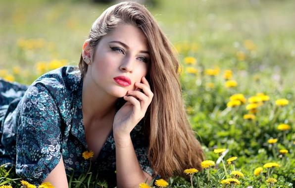 Picture greens, summer, grass, girl, the sun, flowers, yellow, makeup, dress, hairstyle, lies, brown hair, dandelions, …