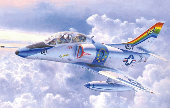 Picture the plane, easy, art, attack, American, deck, first, Training, developed, 1950-H. G., TA-4J Skyhawk, Douglas …