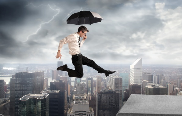 Picture the city, creative, jump, lightning, building, umbrella, glasses, shirt, guy