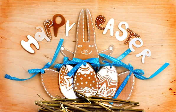 Picture branches, tape, tree, holiday, the inscription, hare, eggs, Easter, socket, figures, Easter