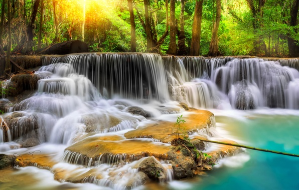 Picture forest, trees, river, stones, waterfall, treatment, stream, Thailand, Thailand, cascade