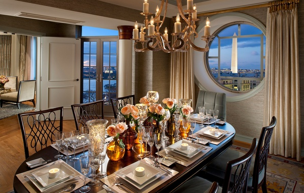 Picture flowers, design, the city, style, table, room, view, chairs, interior, candles, window, dishes, Washington, Washington, …