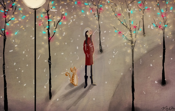 Picture winter, cat, snow, trees, Park, figure, girl, lantern, path, illustration