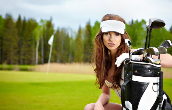 Picture field, nature, sport, woman, bag, beautiful, athlete, Golf, equipment, golf, types, bokeh, training, wallpaper., sports, ...