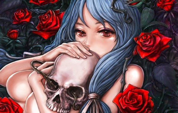 Picture girl, skull, roses, art, spikes, naked, pixiv, nose