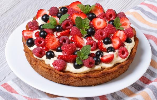 Picture berries, raspberry, strawberry, pie, cake, cake, cream, dessert, currants, cakes, sweet, sweet, dessert, berries