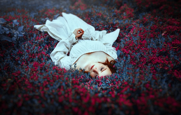 Picture girl, flowers, nature, lies