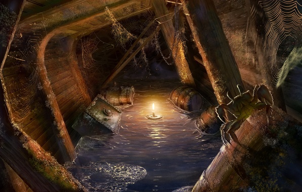 Picture light, ship, crab, candle, web, fantasy, spider, light, pirates, barrels, chests, pirates, ship, candle, the …