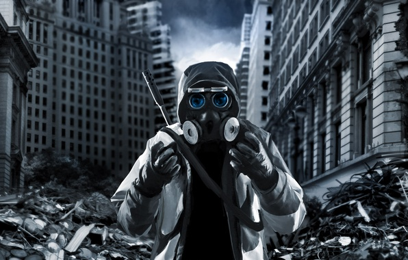 Picture Ruins, Gas mask, Building, Romantically Apocalyptic, Sniper, Shooter, Romance Of The Apocalypse