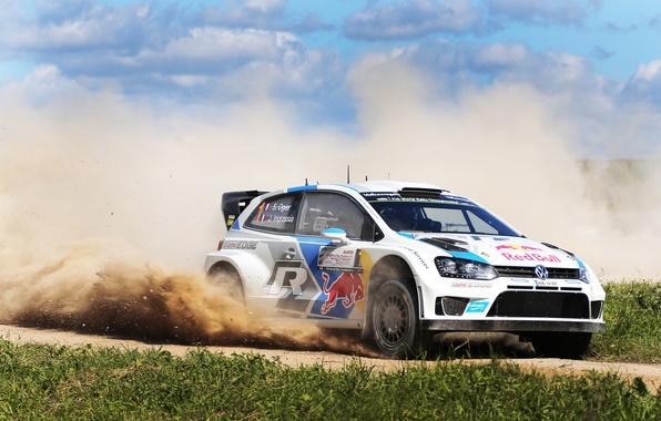 Picture Auto, Dust, White, Volkswagen, Speed, Skid, WRC, Rally, Polo, Sebastien Ogier, Julien Ingrassia