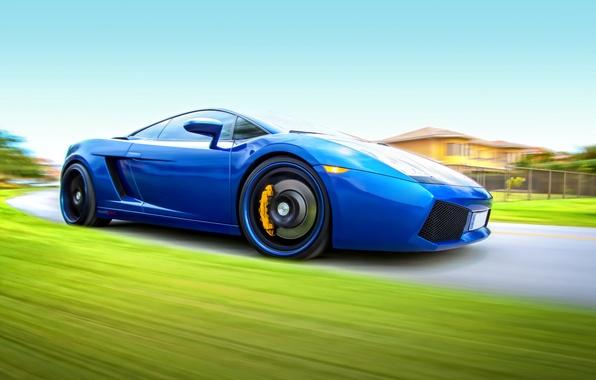 Picture road, the sky, speed, Lamborghini, Gallardo