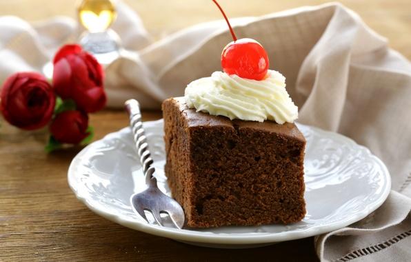 Picture cherry, plate, cake, cake, plug, cherry, cream, dessert, sweet