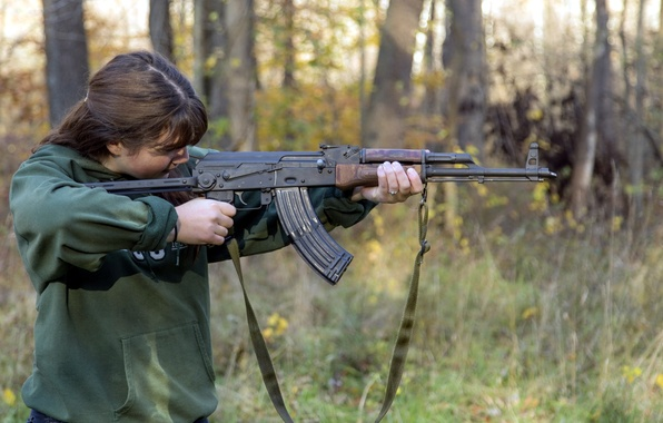 Picture girl, weapons, machine, AK-47