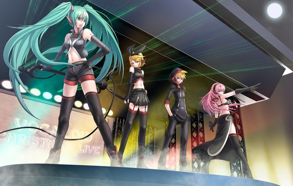Picture music, anime, concert, len, Vocaloid, song, Rin, Miku, Luke