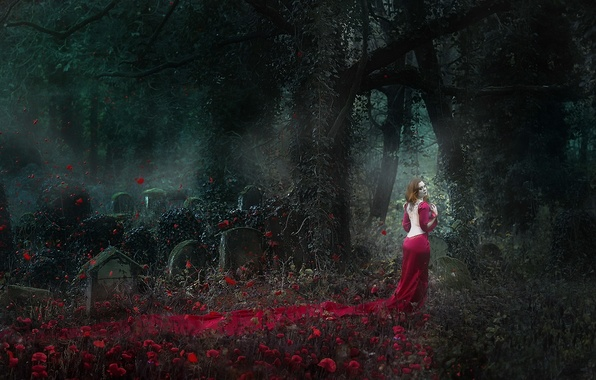Picture girl, Ghost, cemetery, Lady in Red