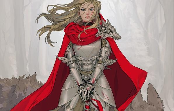 Picture look, girl, red, sword, armor, art, cloak