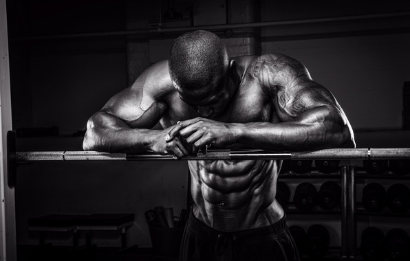 Picture muscles, pose, white and black, bodybuilder