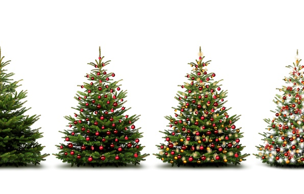 Picture decoration, tree, New Year, Balls, tree, Holidays, Garland, White Background