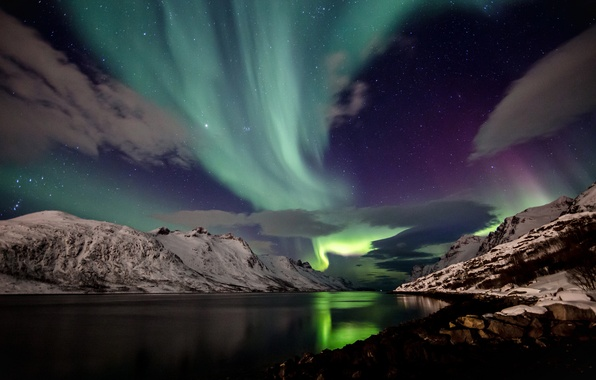 Picture the sky, snow, mountains, night, Northern lights, Iceland