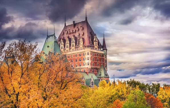 Picture autumn, the sky, clouds, trees, the city, paint, Canada, QC, Chateau Frontenac, the château Frontenac