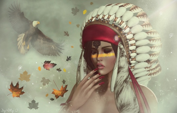 Picture leaves, girl, face, background, feathers, hawk, paint, headdress