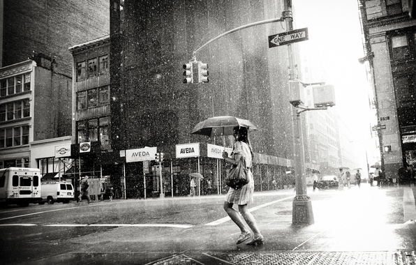 Picture girl, city, the city, loneliness, rain, overcast, woman, black and white, girl, weather, megapolis, rain, …