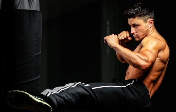 Picture workout, training, kick, bag to hit, kick boxing