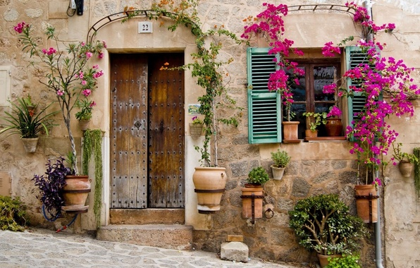 Picture flowers, Windows, home, door, house, architecture, flowers, window, architecture, door