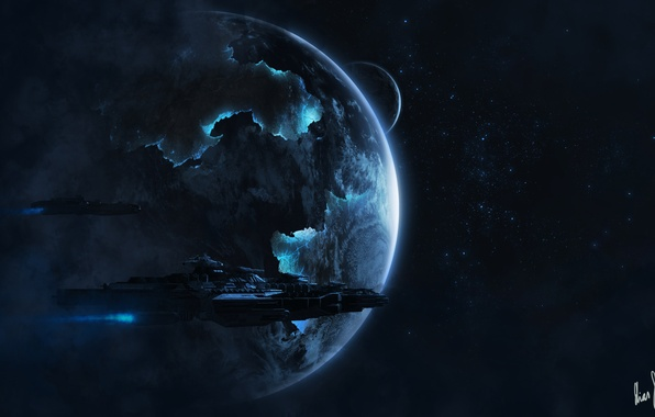 Picture space, stars, planet, ships, art, space