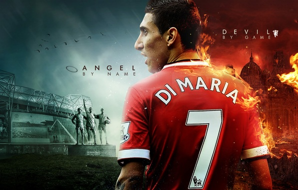 Picture the devil, player, Real Madrid, Real Madrid, Manchester United, Manchester United, Mary, Di Maria