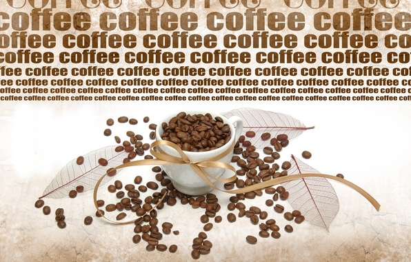 Picture the inscription, coffee, mug, coffee beans, leaves, ribbon, coffee