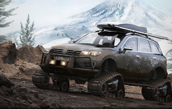 Picture mountains, SUV, render, Volkswagen Touareg