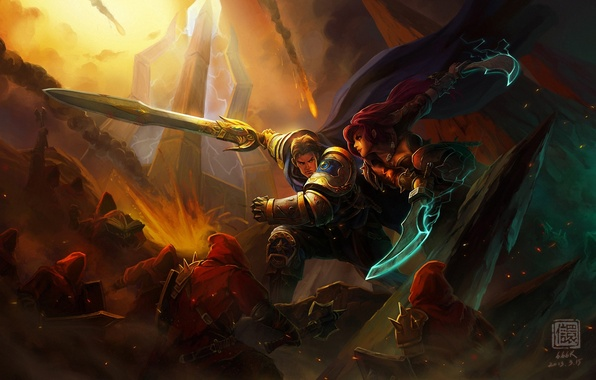 Picture girl, warrior, art, battle, lol, League of Legends, katarina, Kan Liu