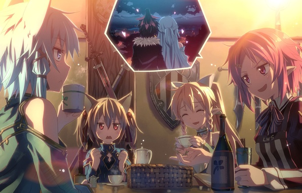 Picture girls, bottle, Cup, yuuki tatsuya, kirito, sword art online, sao, Sword art online, kirito, asuna, …